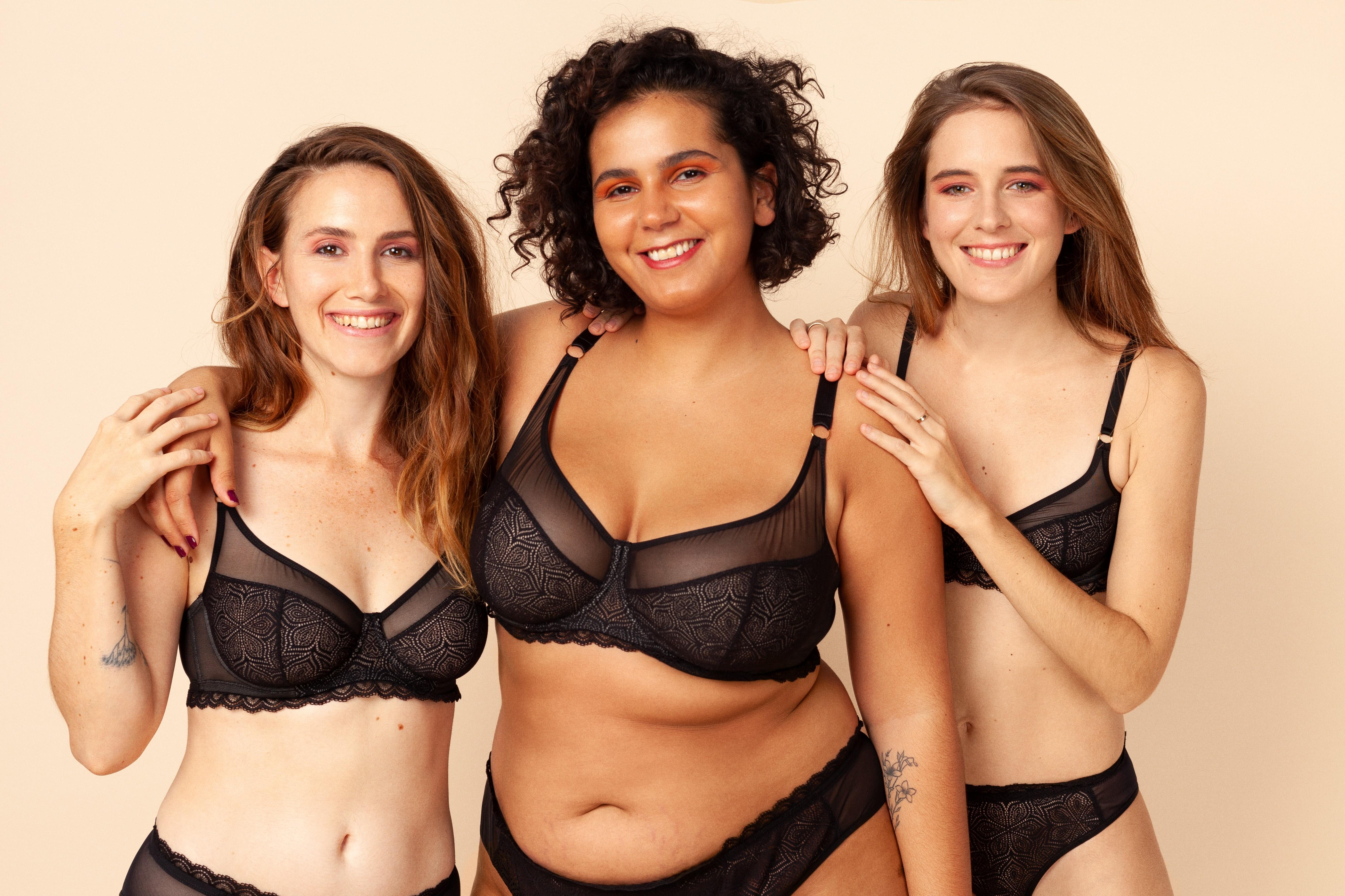 Le produit lolo lingerie porté par 3 femmes aux morphologies différentes